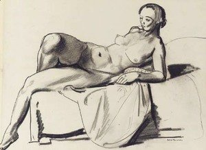 George Wesley Bellows - Nude Study, Classic on a Couch