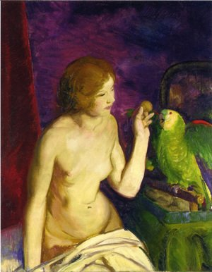 George Wesley Bellows - Nude With A Parrot