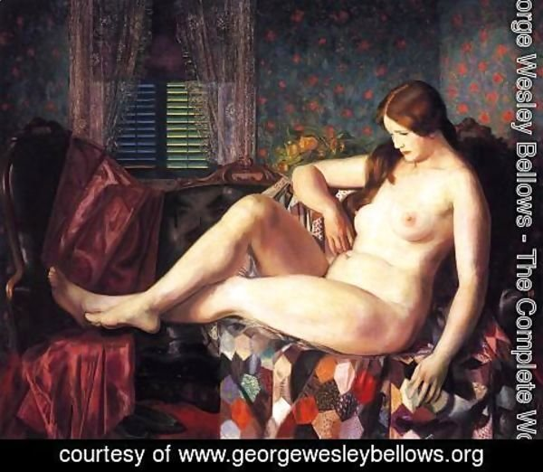 George Wesley Bellows - Nude With Hexagonal Quilt