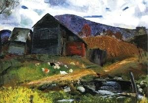 George Wesley Bellows - Old Barn In Shady Valley