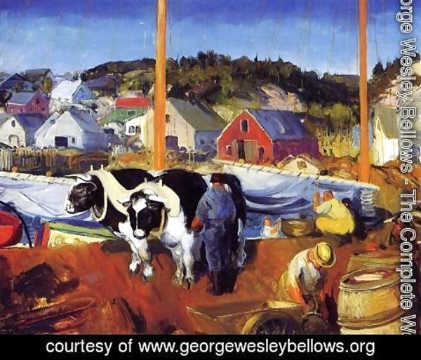 George Wesley Bellows - Ox Team  Wharf At Matinicus